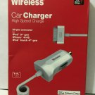 HIGH SPEED CHARGE CAR CHARGER BY JUST WIRELESS 30 PIN CONNECTOR FOR IPAD 3, IPHO