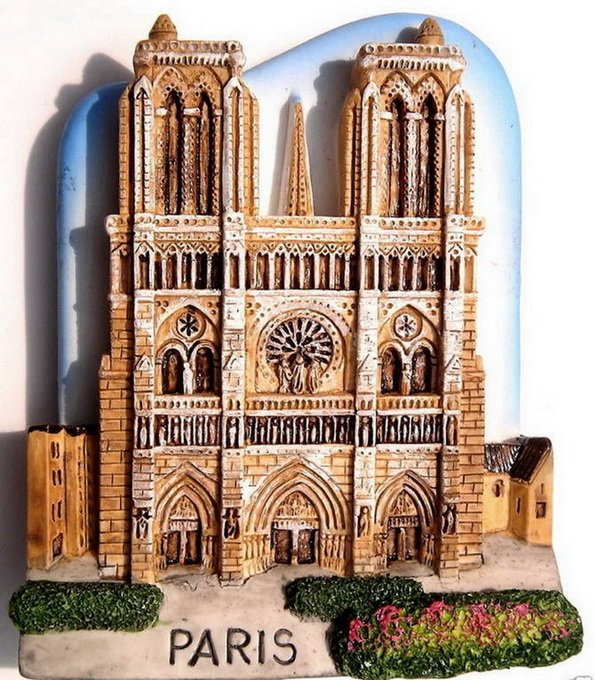Souvenir Notre Dame, PARIS France, High Quality Resin 3D Fridge Magnet