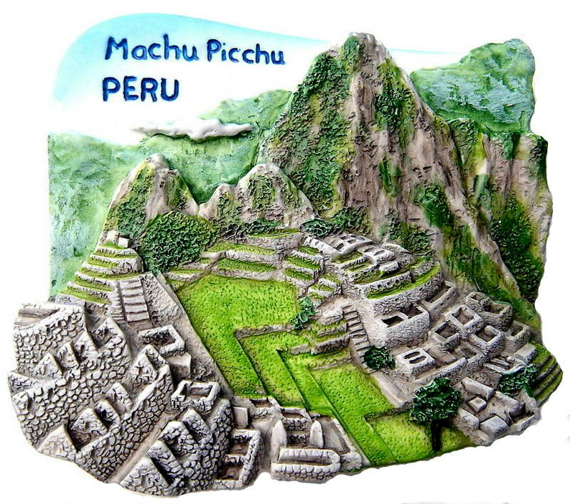 Souvenir Machu Picchu, PERU, High Quality Resin 3D Fridge Magnet
