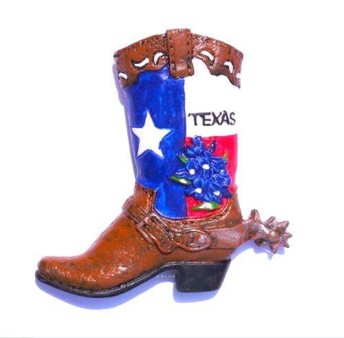 Texas Cowboy Boot Horse Riding Usa 3d Magnet Souvenir Fridge Resin Tourist Gift