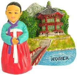 Souvenir Korean Girl, KOREA , High Quality Resin 3D Fridge Magnet