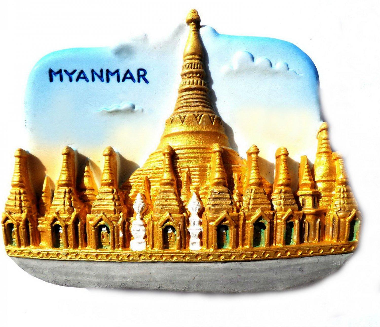 Souvenir Shwedagon Pagoda, MYANMAR, High Quality Resin 3D Fridge Magnet