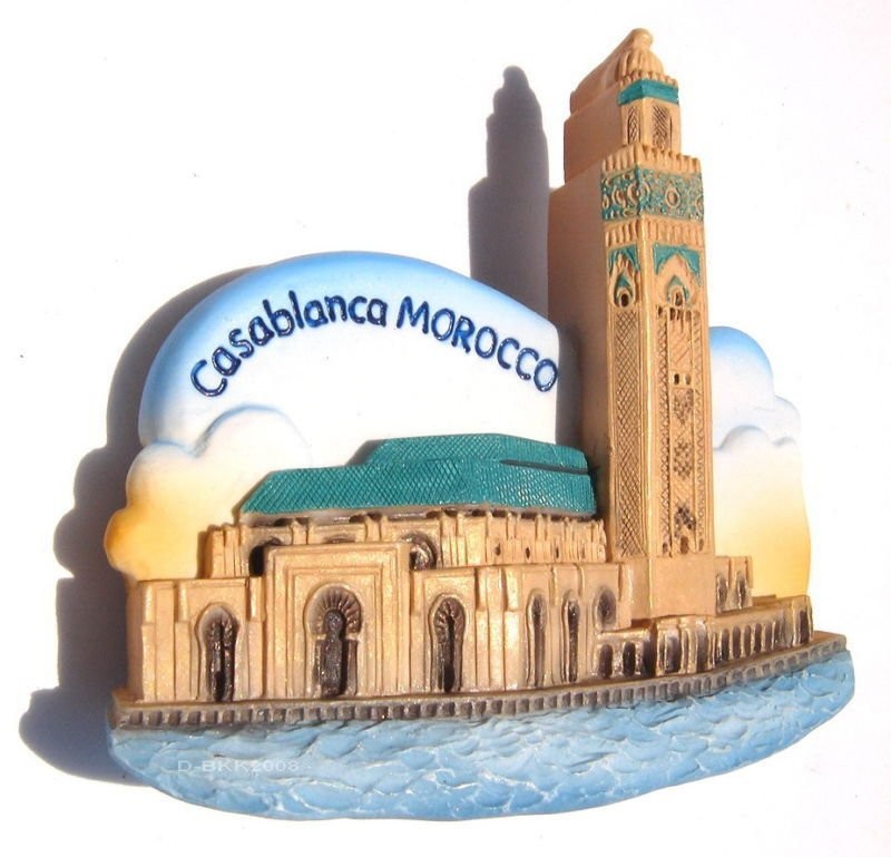 Souvenir Hassan II Mosque, Casablanca, MOROCCO, High Quality Resin 3D Fridge Magnet