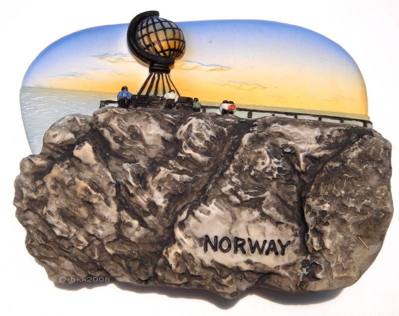 Souvenir Midnight Sun, North Cape, NORWAY, High Quality Resin 3D Fridge Magnet