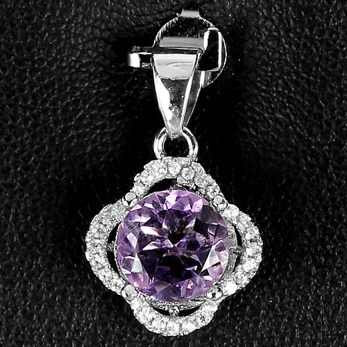 Ladies 1.8 carat Natural Amethyst 14K Gold Coated Solid Silver Simulated Diamonds Pendant Valentines