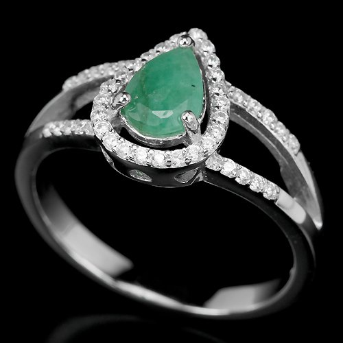 Ladies Green Emerald Simulated Diamonds Solid Sterling Silver 14K Gold Coated Engagement Ring