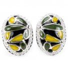 Ladies Enamel Solid Silver Simulated Diamonds 14K Gold Coated Earrings Valentines Gift for her