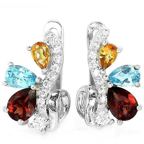 Ladies 3.62 carat Citrine Topaz Garnet Solid Silver Simulated Diamonds Earrings Valentines Gift