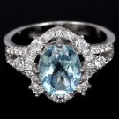 Ladies 2.5 carat Blue Topaz Simulated Diamonds Solid Sterling Silver Engagement Halo Ring Valentines