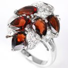 Ladies 5.13 carat Red Garnet Simulated Diamonds 14K Gold Solid Silver Dress Ring Valentines