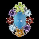 Ladies 5.62 carat Blue Chalcedony Amethyst Peridot Garnet Solid Silver Dress Ring Valentines Gift