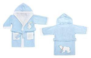 Cotton Hooded Embroidered Toddler Bathrobe-WHITE BEARS
