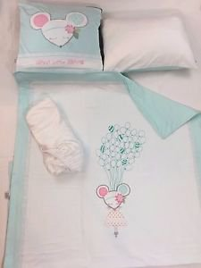 100% Cotton Jersey 4-Piece Baby Crib Bedding, Quilt Set - DOLLY MINT