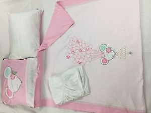 100% Cotton Jersey 4-Piece Baby Crib Bedding Set, Quilt Set-DOLLY PINK