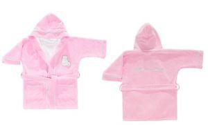 Cotton Hooded Embroidered Toddler Bathrobe-DOLLY PINK