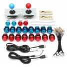 2 Player Arcade Game Controller Joysticks Clear Buttons DIY Kit For MAME