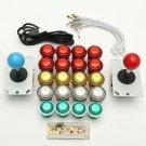 Dual Player USB Encoder 8 Way Joystick  LED Illuminated Buttons PC Arcade Games