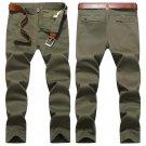 Plus Size Mens Autumn Winter Solid Color Straight Leg Cotton Casual Pants