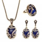 JASSY Vintage Gold Earrings Natural Blue Stone Necklace Crystal Ring Gift For Wo