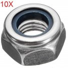 10pcs M10 Motorcycle Stainless Steel Screw Cap Hexagon Nuts