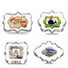 4pcs Blessing Wedding Frame Cookie Cutters 3D Biscuit Sugarcraft Kitchen Mould B