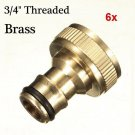 6x 3/4 Brass Threaded Garden Hose Water Tap Fittings Solid Connector