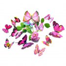 12Pcs 3D Red Butterfly Wall Sticker Christmas Home Decor