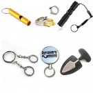6-In-1 Survival Whistle Outdooors Fishing Gear Flashlight Self Defense Key Chain