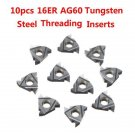10pcs 16ER AG60 Carbide Inserts Tungsten Steel Threading Inserts Turning Tool Bl