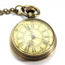 Vintage Bronze Yellow Color Dial Roman Number Chain Pocket Watch Fashion Gift