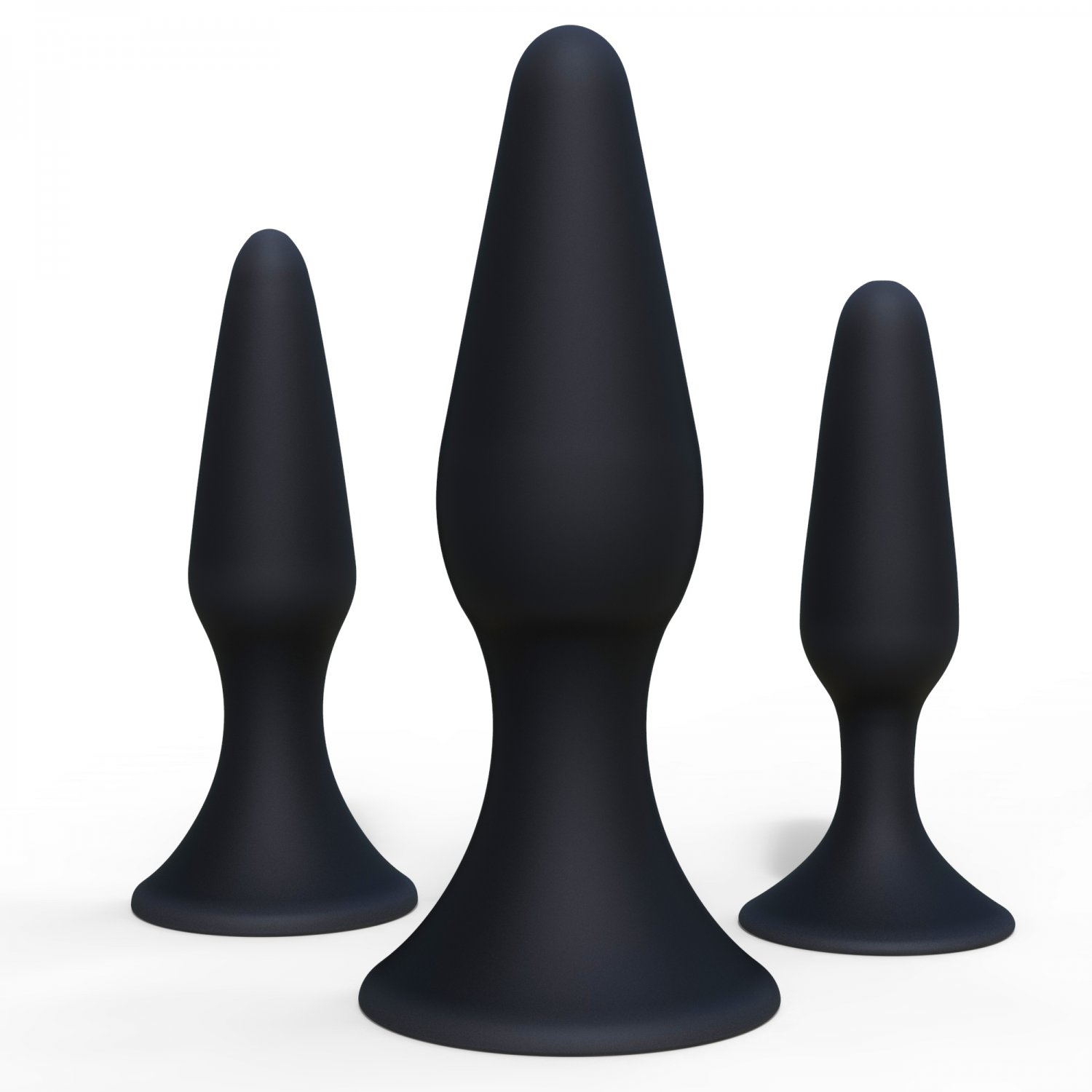 Set of 3 Healthy Vibes Black Butt Plugs - Flexible Silicone Anal Starter Kit