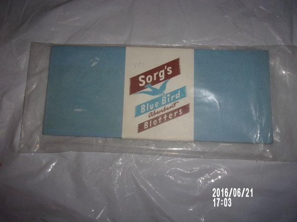 VINTAGE PACKAGE OF SORG'S BLUE BIRDS ABSORBENT BLOTTERS