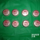 VINTAGE LOT OF EIGHT MISSION CHERRY COLA CORK LINED SODA BOTTLE CAPS