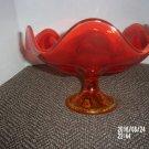 VINTAGE ORANGE COLOR LARGE GLASS STEMMED VASE