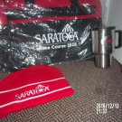 BRAND NEW LOT OF THREE SARATOGA RACECOURSE ITEMS BAG HAT MUG HORSE RACING