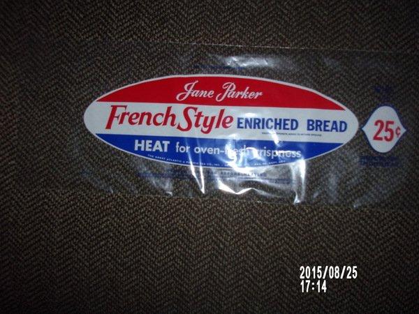 VINTAGE JANE PARKER FRENCH STYLE BREAD BAG WRAPPER 25 CENTS A&P