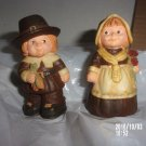 VINTAGE PAIR OF BOY AND GIRL PILGRIM SALT AND PEPPER SHAKERS