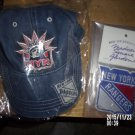 BRAND NEW SET OF TWO NEW YORK RANGERS COLLECTIBLES DENIM CAP HAT AND PATCH