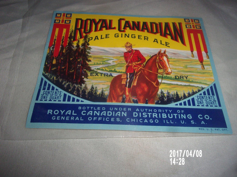 VINTAGE ROYAL CANADIAN PALE GINGER ALE PAPER LABEL