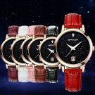 Womens Bling Stainless Steel Star Date Dial Leather Band Quartz Wrist Watch