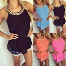 Summer New Ladies Sleeveless Chiffon Long Tops Shirt Blouse Fashion Chain Tops