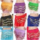 New Belly Dance Skirt Scarf Hip Waistband Chain Belt 3 Rows Chiffon coins