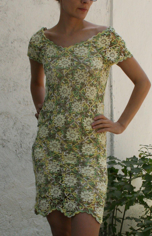 Handmade Crochet 100% Cotton Floral Dress size S