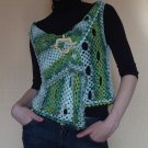 Handmade Crochet Microfiber Wrap Vest with Wood Shawl Pin size S/M