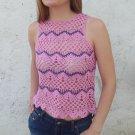 Handmade Summer Crochet Lace Soft Cotton Pink Sleeveless Crop Top size M