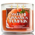 1 X Bath & Body Works 2014 SWEET CINNAMON PUMPKIN (Orange) 3 Wick Scented Candle 14.5 oz./411 g