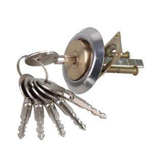 Brass Replacement Mortise Rim Cylinder Door Night Latch Lock Cross Shaped 6 Keys