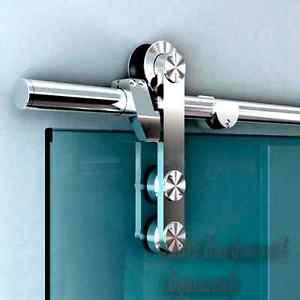 Stainless Steel Interior Cast Glass Gate Sliding Hardware Rollers Wall Mount