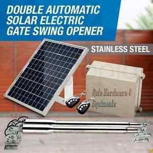NSEE EM3 Heavy Duty Automatic Dual Swing Gate Opener w/ 22 Watt Solar Panel
