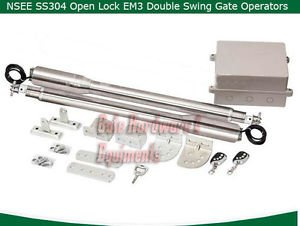 NSEE SS304 EM3 Residential Heavy Duty Automatic Dual Swing Gate Door Operator